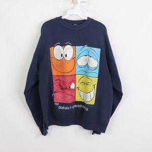 90s Mens XL Subject to Mood Swings Sweatshirt Blue